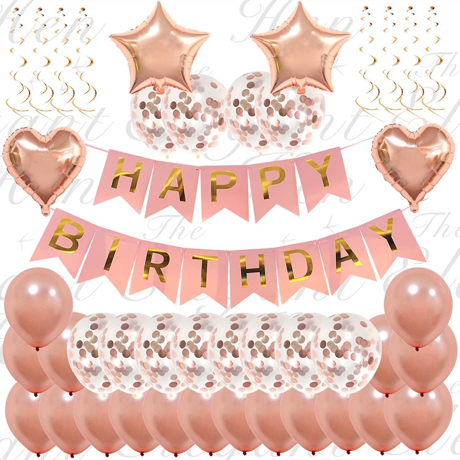 45 Piece Ultimate Rose Gold Happy Birthday Decorations | Classy Happy Birthday Confetti Balloon Banner Set For Girls and Women | Inflatable Foil Heart and Bunting Party Supplies | Includes Inflating Straw and Hanging Strings | 16th 18th 21st 25th 30th 50t