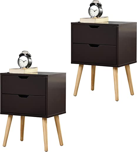Amazon Com Kswin Nightstands Set Of 2 Brown End Table 2 Glide Sliding Drawers With Solid Wood Legs Side Table Moden Storage Cabinet For Living Room Bedroom Funriture Kitchen Dining