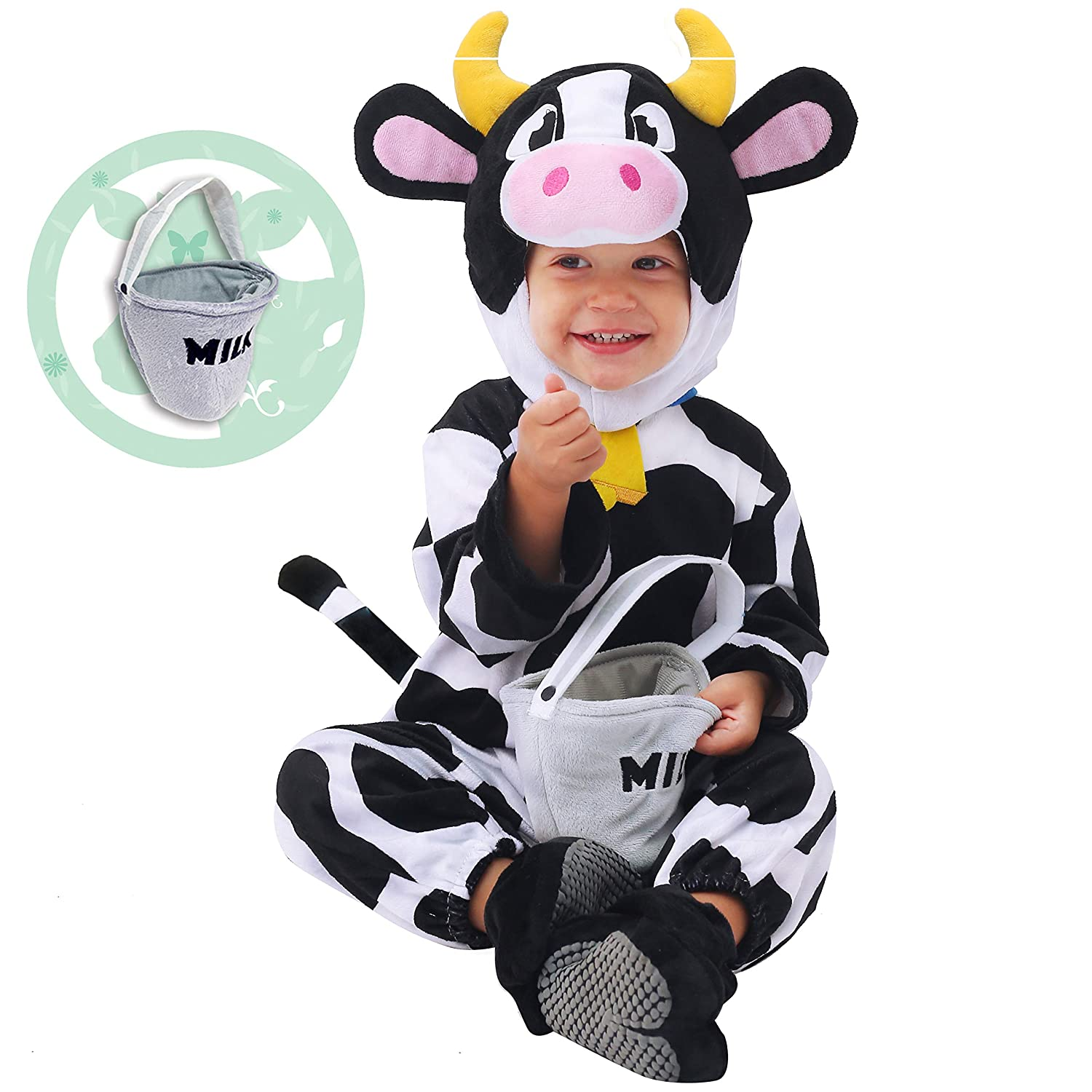153d6d95cb5f8 Amazon.com  Spooktacular Creations Baby Cow Costume (12-18 Months) White   Clothing