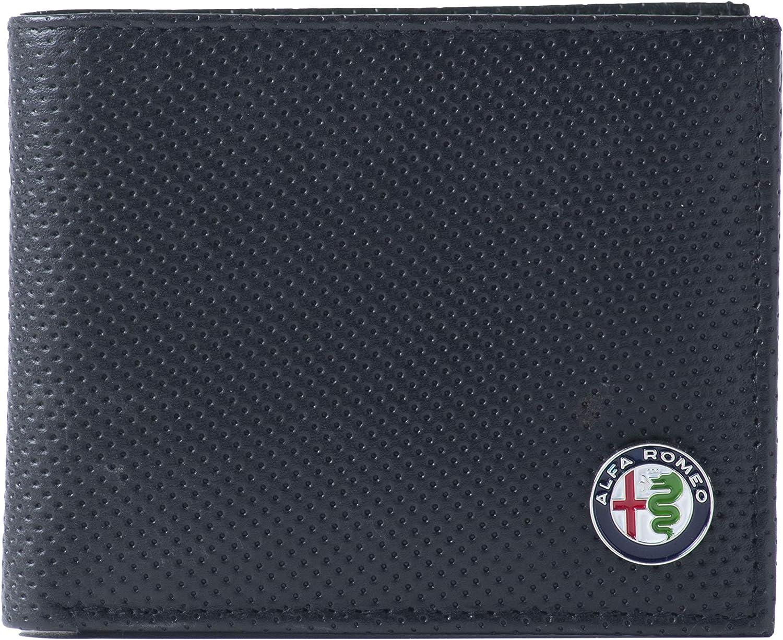 Alfa Romeo DP2 - Cartera de piel auténtica, color negro