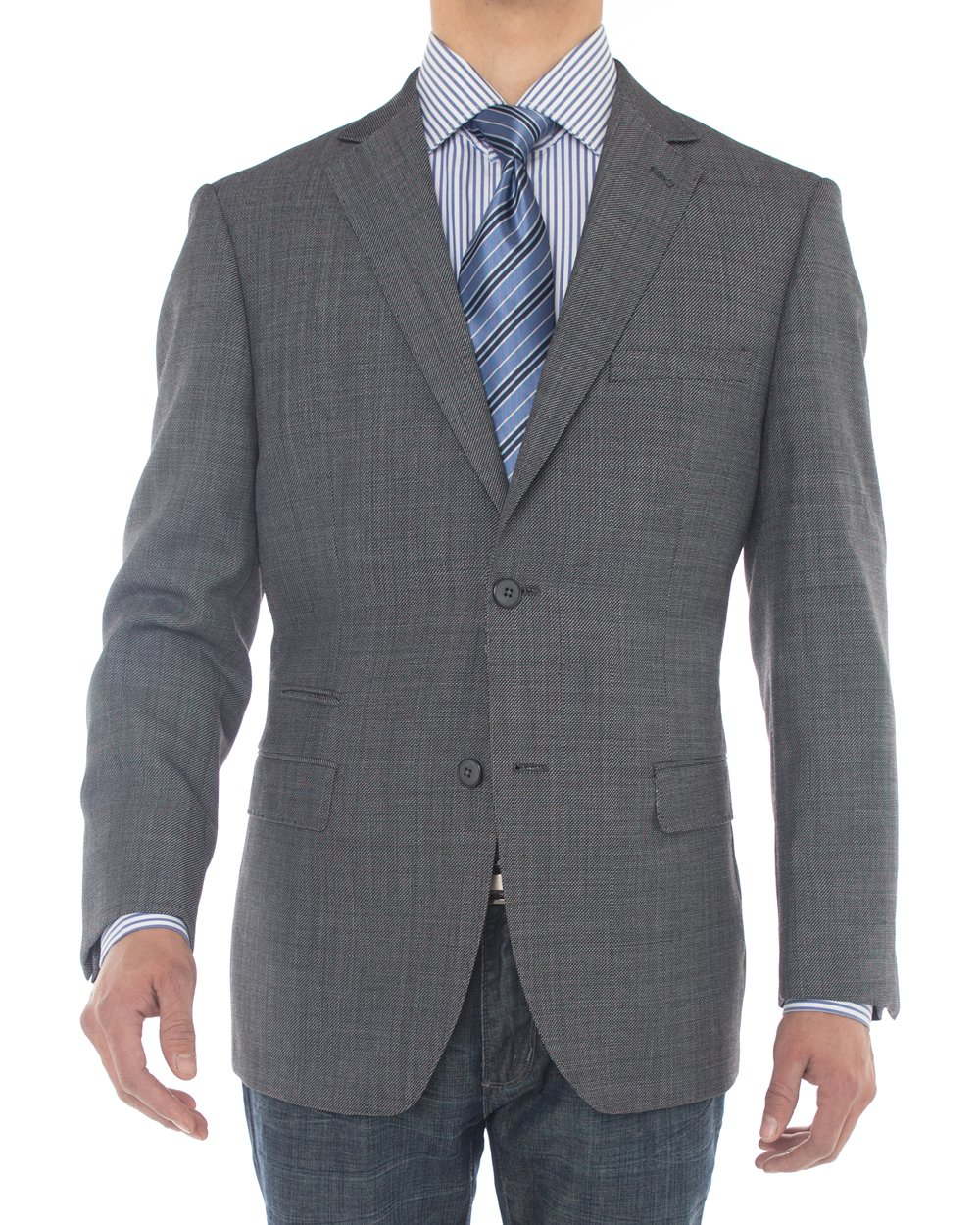 Luciano Natazzi Mens Two Button 160'S Wool Blazer Ticket Pocket Suit Jacket (50 Long US / 60 Long EU, Charcoal Gray)