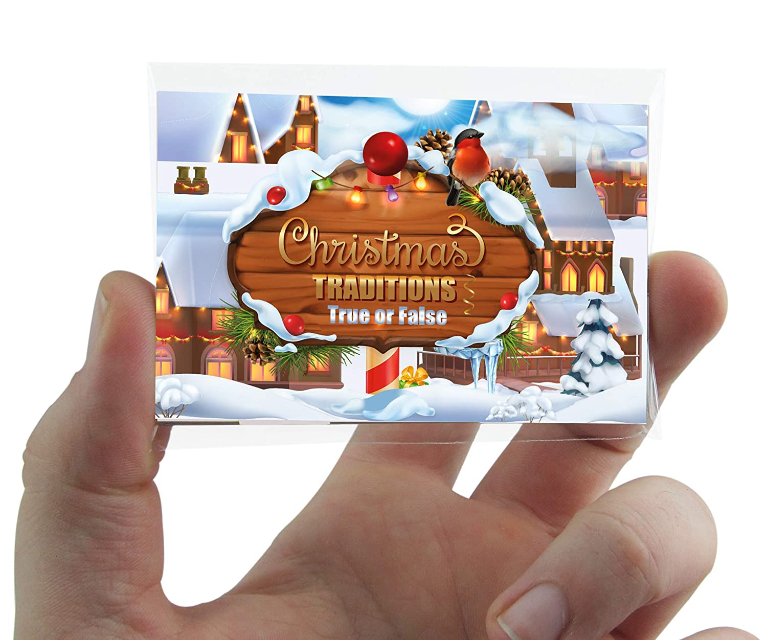 CHRISTMAS TRADITIONS POCKET QUIZ CARD GAME with True False answers Hannah's Games .
