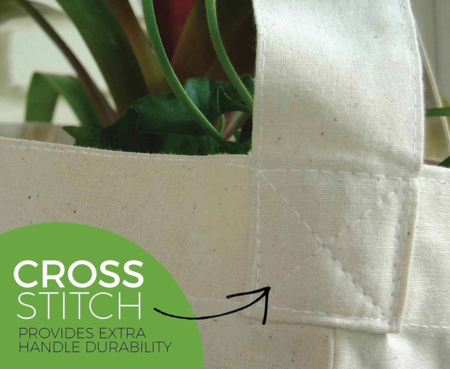 15.5 x 14.5 Off White 3 Pack Green Earth Bags Reusable Cotton Canvas Grocery Tote Bag with Cross Body Strap