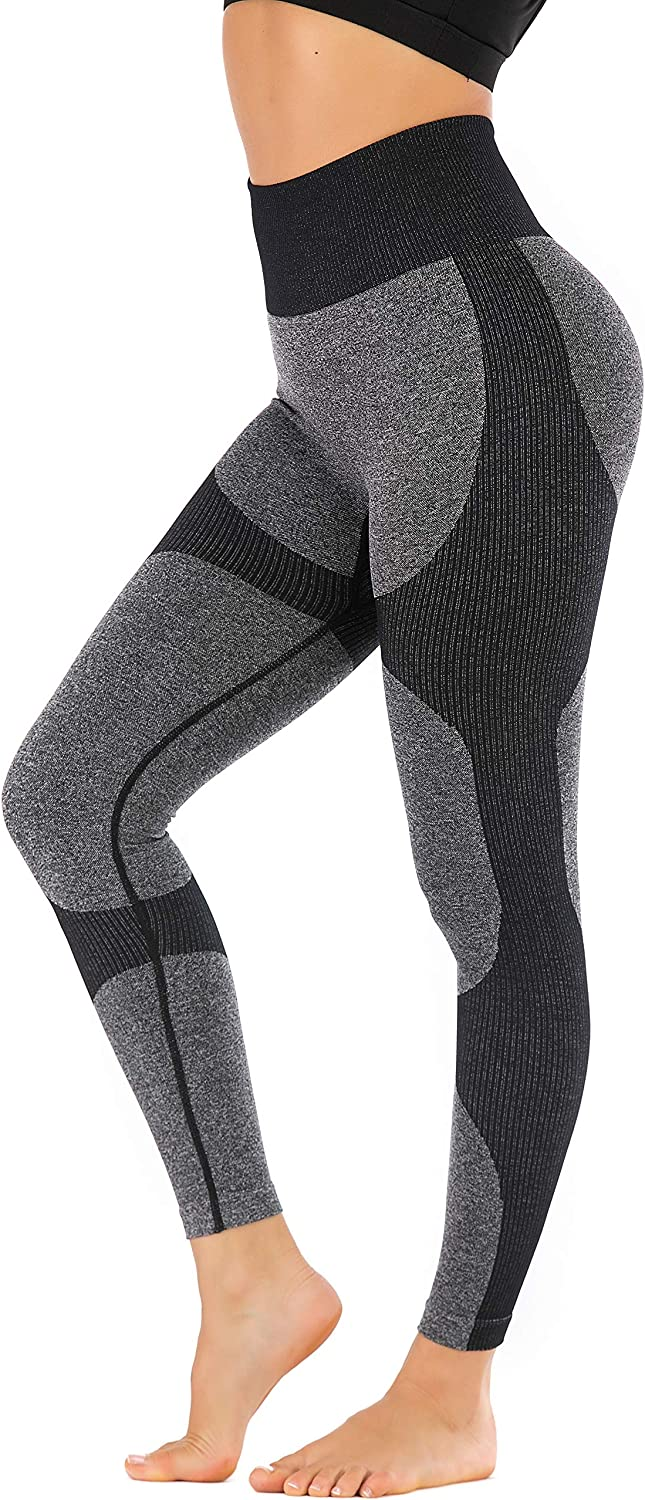RUNNING GIRL Women Butt Lift Seamless Yoga Leggings High Waisted Tummy Control Workout Leggings Compression Skinny Tights