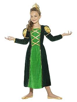 Smiffys Smiffys-44900M Disfraz de Princesa Medieval, con Vestido y Corona Color Verde M