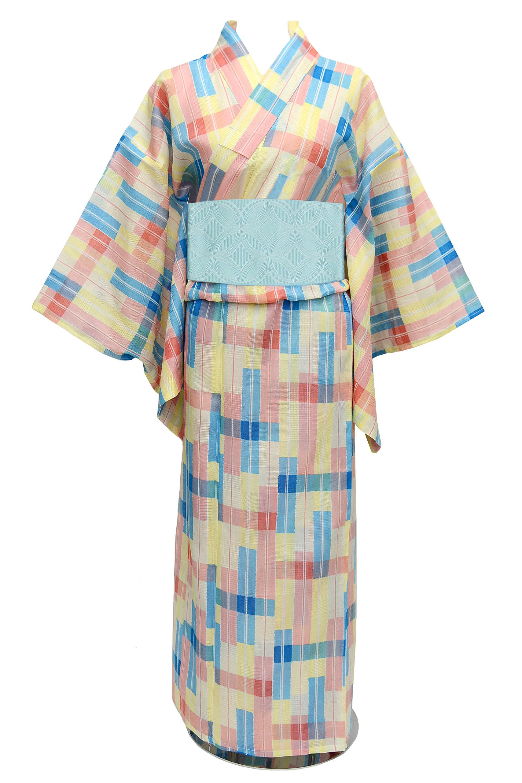 [Haloween Sale 50% OFF] KimonoMode24 Women's Japanese Yukata Blue Obi Set/Change Weaving Free Size Yellow