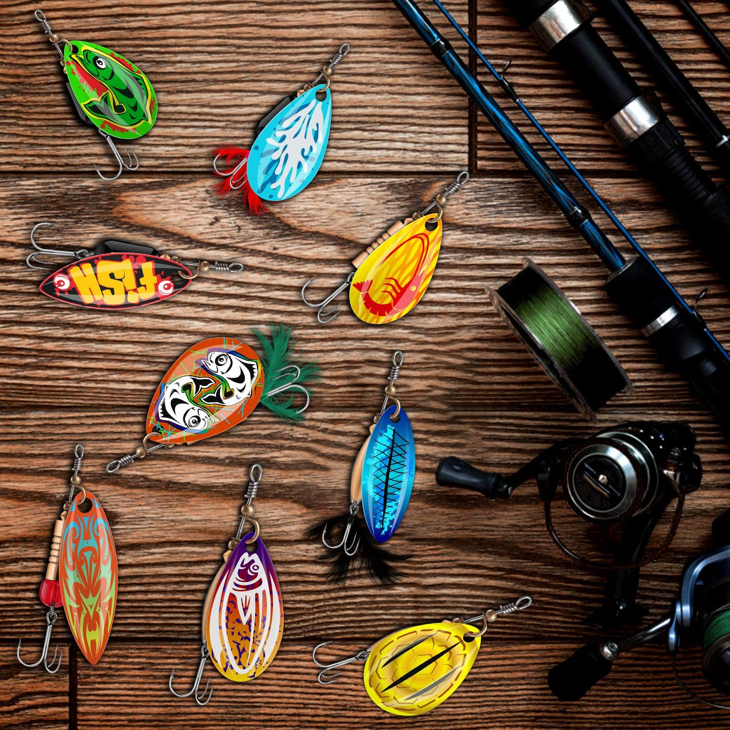 Angler Bass Lures Husband Spinning Lures Colorful Fishing Lures Trout Lures Hard Metal Spinner Baits Kit for Boyfriends 2020 Patent Design Fishing Spoon Fathers
