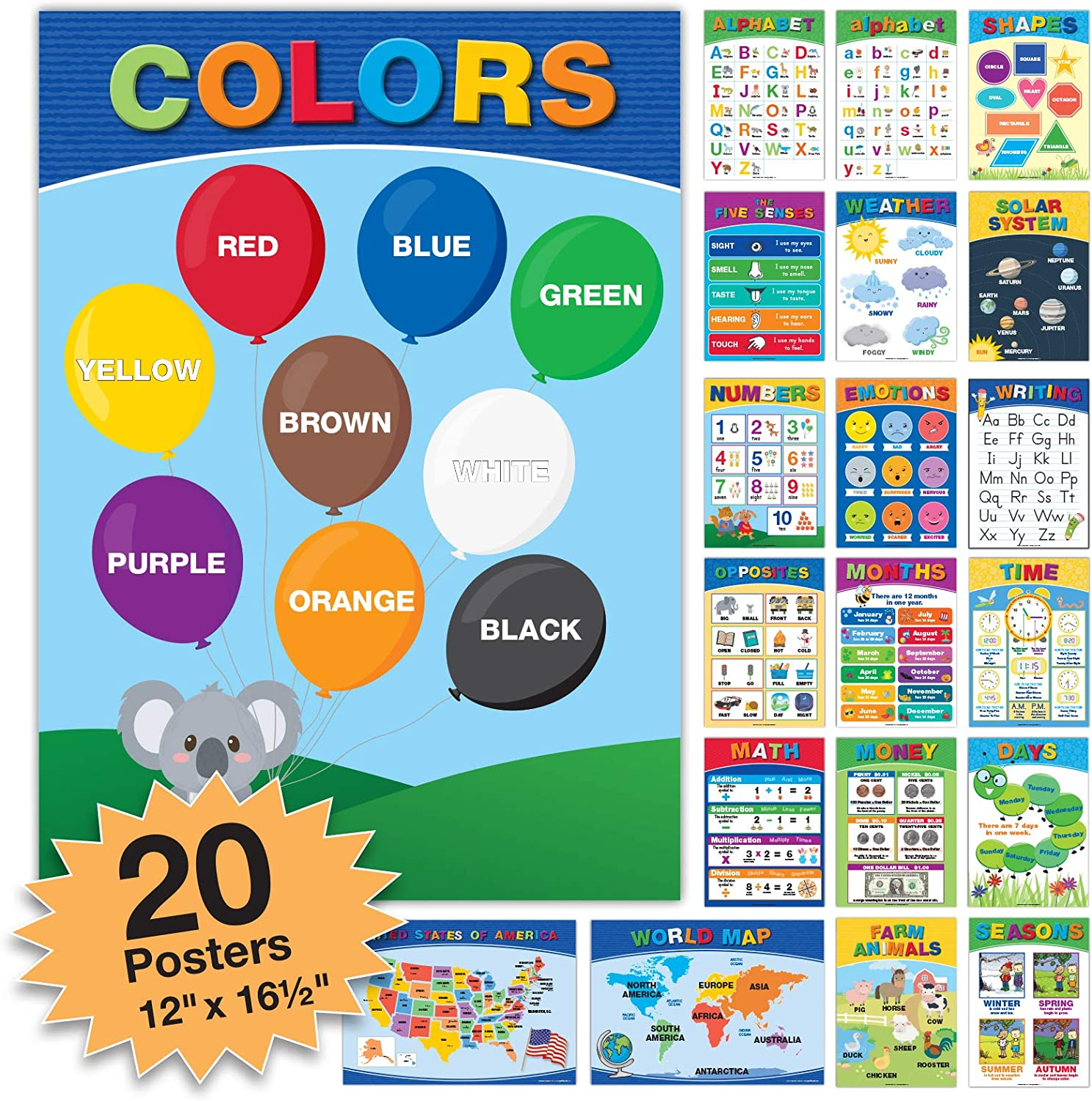 20 Large Educational Posters For Kids Toddlers (16.5x12 Double Sided English and Spanish) Includes: Alphabet Colors Letters Numbers Shapes Months Days Weather Time Animals Solar System Seasons Map