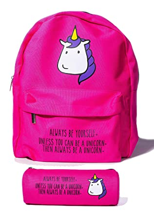 4cb3a34dbac9 Mini Unicorn Backpack for Women by BubbleGum Cases - Cute Small School Bag  for Girls in Pink or Yellow - Lightweight Canvas ...