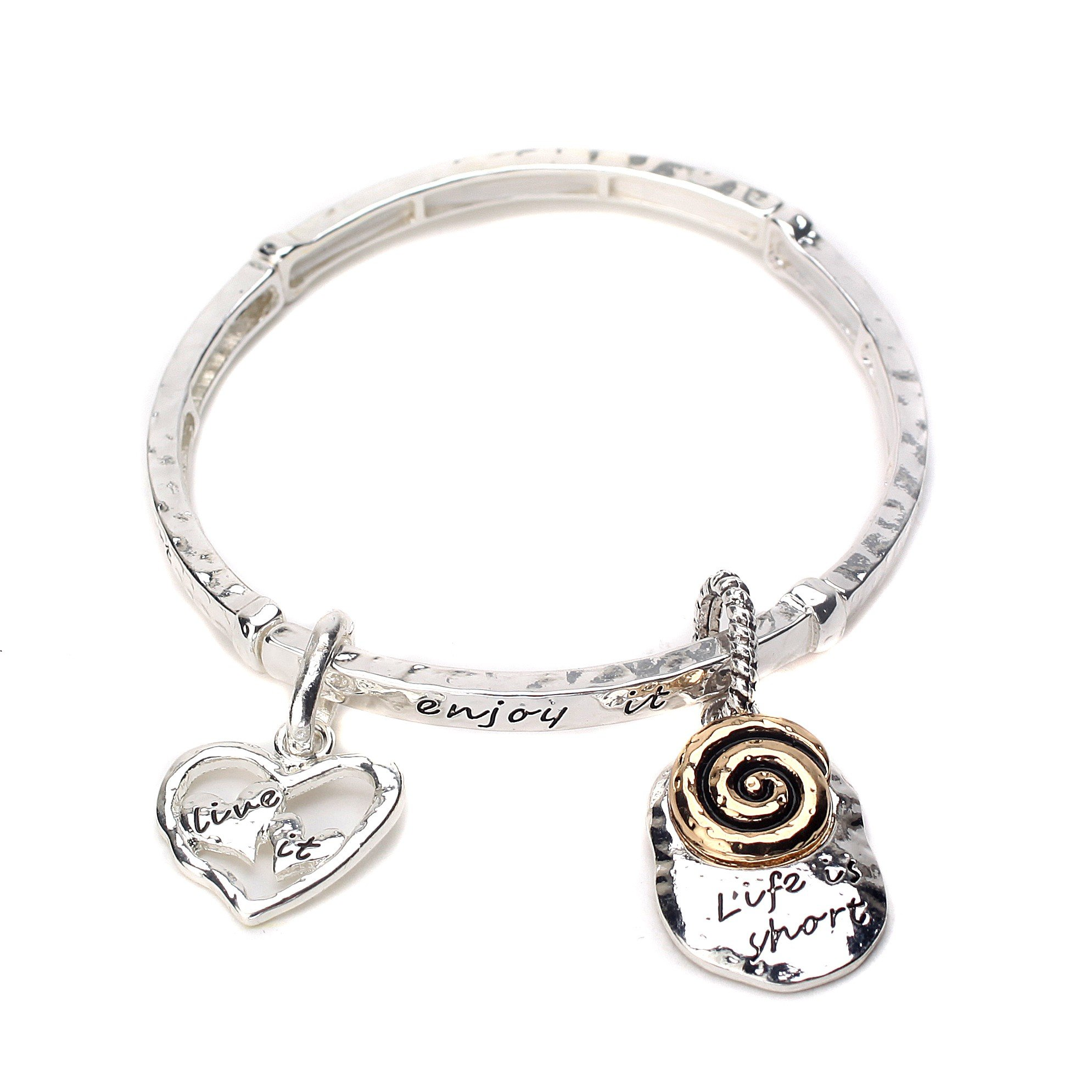 Inspired Silver Life is Short Inspirational Wardrobe Stretchable White Metal Bracelet by Inspired Silver (Image #1)