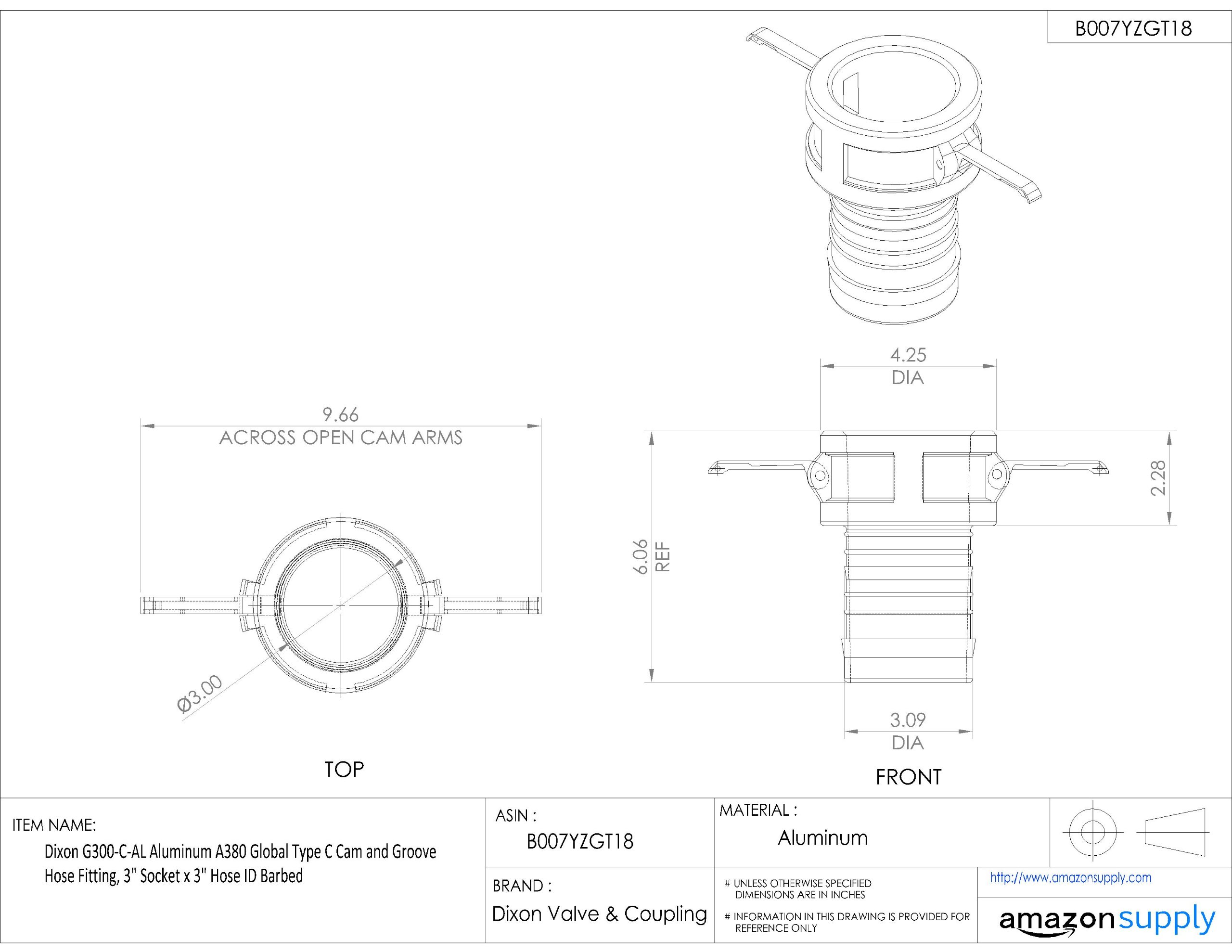 Dixon G300-C-AL Aluminum A380 Global Type C Cam and Groove Hose Fitting, 3'' Socket x 3'' Hose ID Barbed by Dixon Valve & Coupling (Image #2)