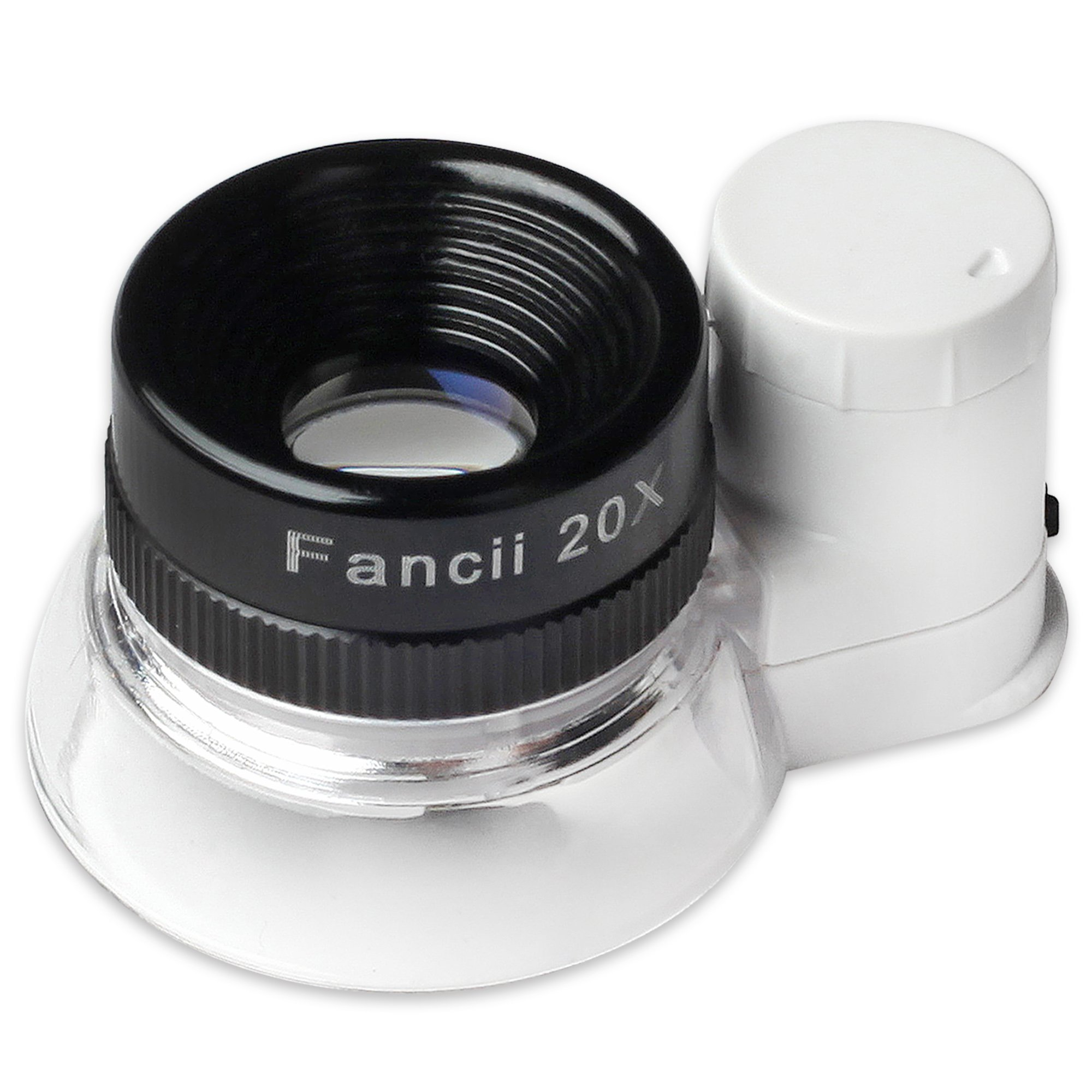 Fancii LED Illuminated 20X Jewelers Loupe Magnifier, Triplet Glass - Premium Aluminum Magnifying Eye Loop Best for Jewelry, Diamonds, Gems, Coins, Engravings and More! by Fancii