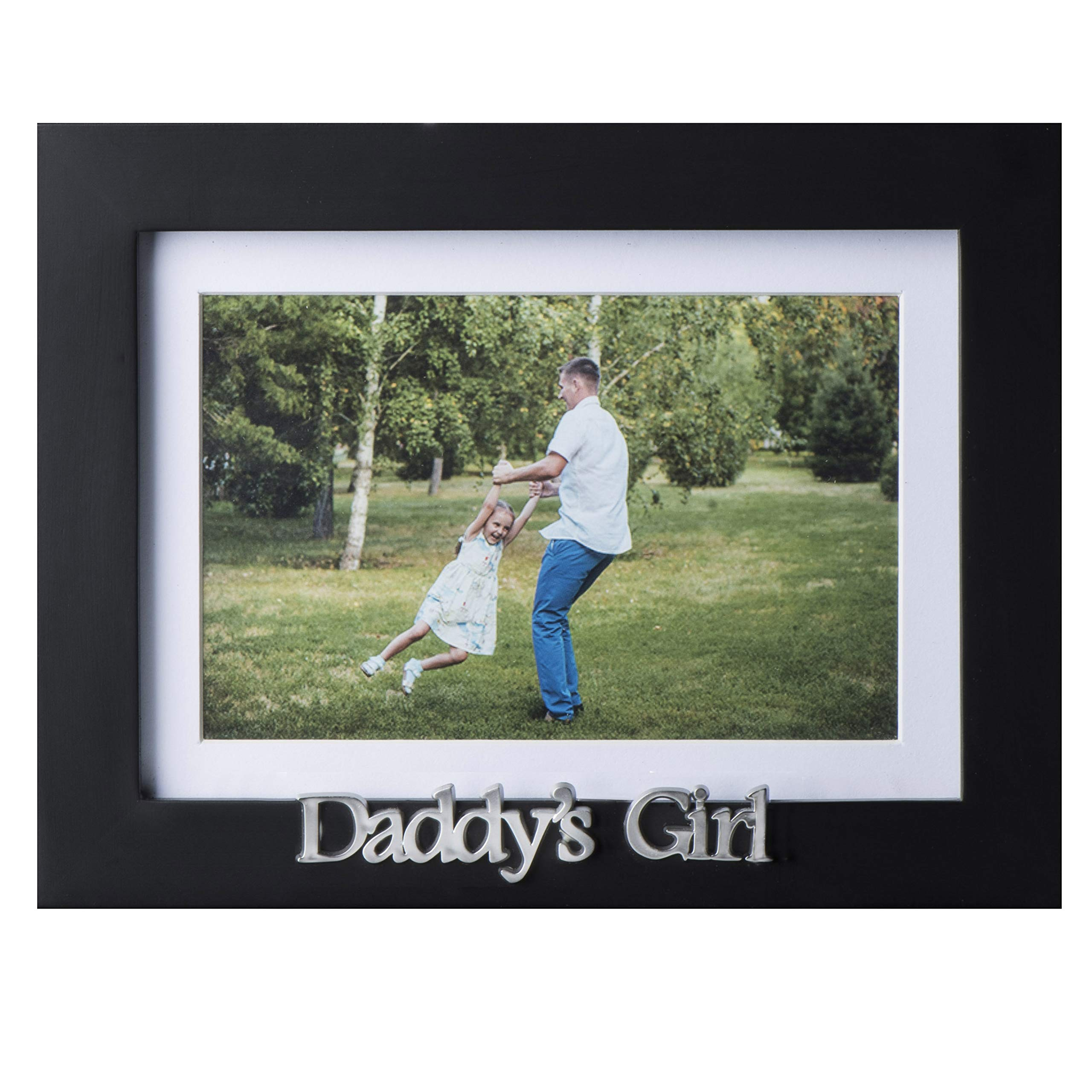 Klikel Daddys Girl Picture Frame | Black Wood Frame with Father Sentiments | Holds 1 4x6 Photo with Mat or 1 5x7 Photo Without Mat | Wall Mount and Table Desk Display by Klikel