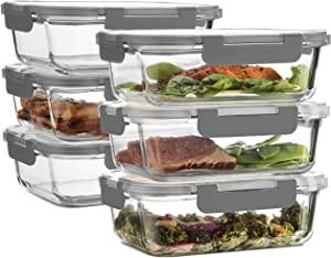 Superior Glass Meal Prep Containers - 6-pack (35oz) Newly Innovated Hinged BPA-free Locking lids - 100% Leak Proof Glass Food Storage Containers, Great on-the-go, Freezer to Oven Safe Lunch Containers