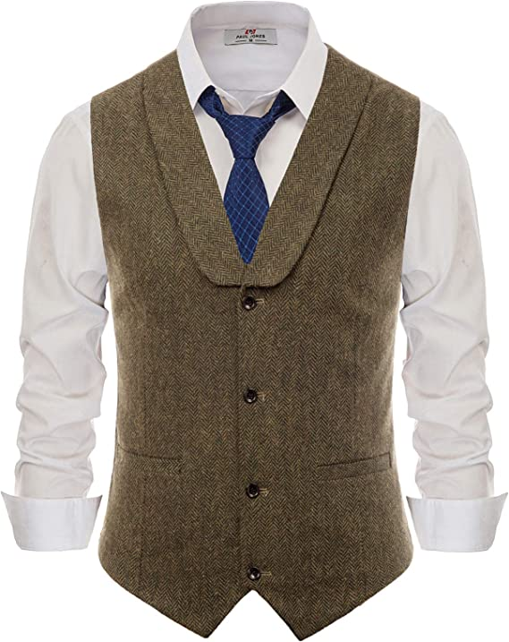 1920s Style Mens Vests PJ PAUL JONES Mens Slim Fit Herringbone Tweed Suits Vest Wool Blend Waistcoat  AT vintagedancer.com