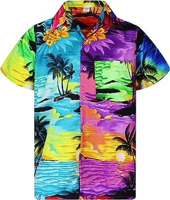 Funky Camisa Hawaiana Señores | XS -6XL | Manga Corta | Bolsillo Delantero | impresión De Hawaii| Diseños de Surf únicos: Amazon.es: Ropa y accesorios