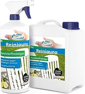 PROCaso Limpiador de plástico para Muebles de jardín, etc, 1 litro con atomizador + 2,5 litros de Recambio Limpiador de plástico: Amazon.es: Hogar