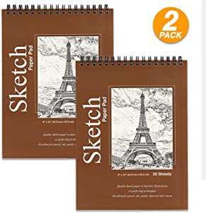 """Emraw Top Bound Spiral Premium Sketch Pad Can be Use with Pens, Markers, Pencils Perfect for Writing, Drawing & Sketching 9"""" x 12"""" - 30 Per Pack (Pack of 2)"""