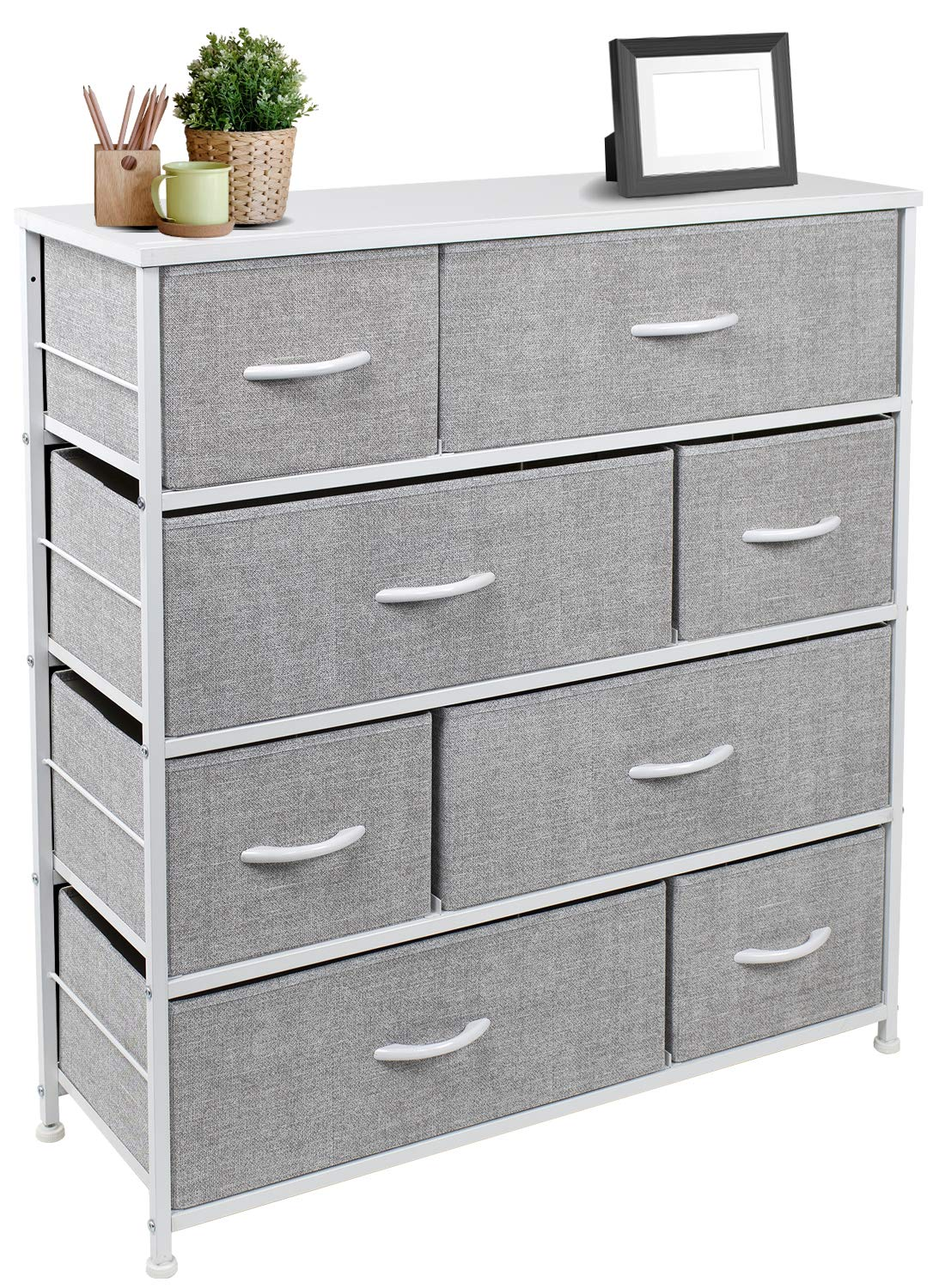 Sorbus Dresser with 8 Drawers - Furniture Storage Chest Tower Unit for Bedroom, Hallway, Closet, Office Organization - Steel Frame, Wood Top, Easy Pull Fabric Bins (White)
