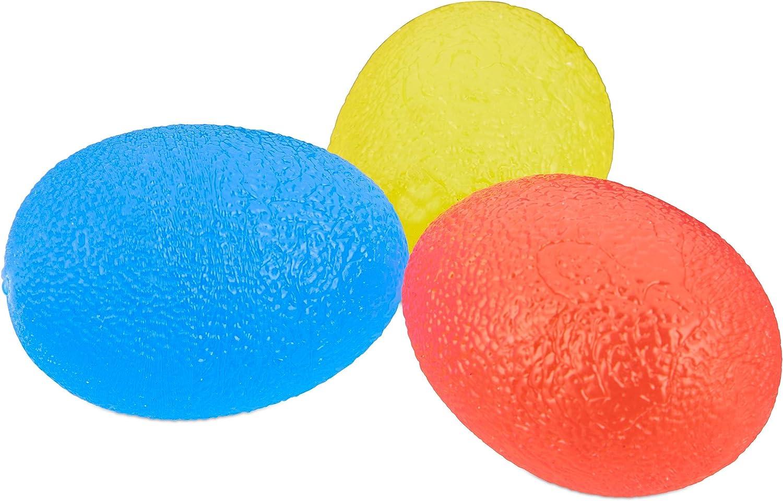 Beutel 3 H/ärtegrade Knautschei f/ür Handtraining /& Stressabbau rot//gelb//blau Relaxdays Eif/örmige Griffb/älle 3er Set