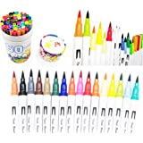 Dual Tip Brush Pens,VicPow 60 Colors Watercolor Art Markers Pens Set - Including 0.4mm Fine Liners Tip & Brush Tip,Highlighters Watercolor Pens For Adult Coloring Books,Drawing,Painting,Writing