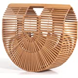 RULER TRUTH Women's Bamboo Handbag by Handmade Straw Bag,Tote Bamboo Purse Natural Basket Bag for Summer Beach