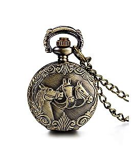 SODIAL(R) Antique Horses Locket Pocket Watch Quartz White Dial Arabic Numerals Full Hunter Sweater Necklace
