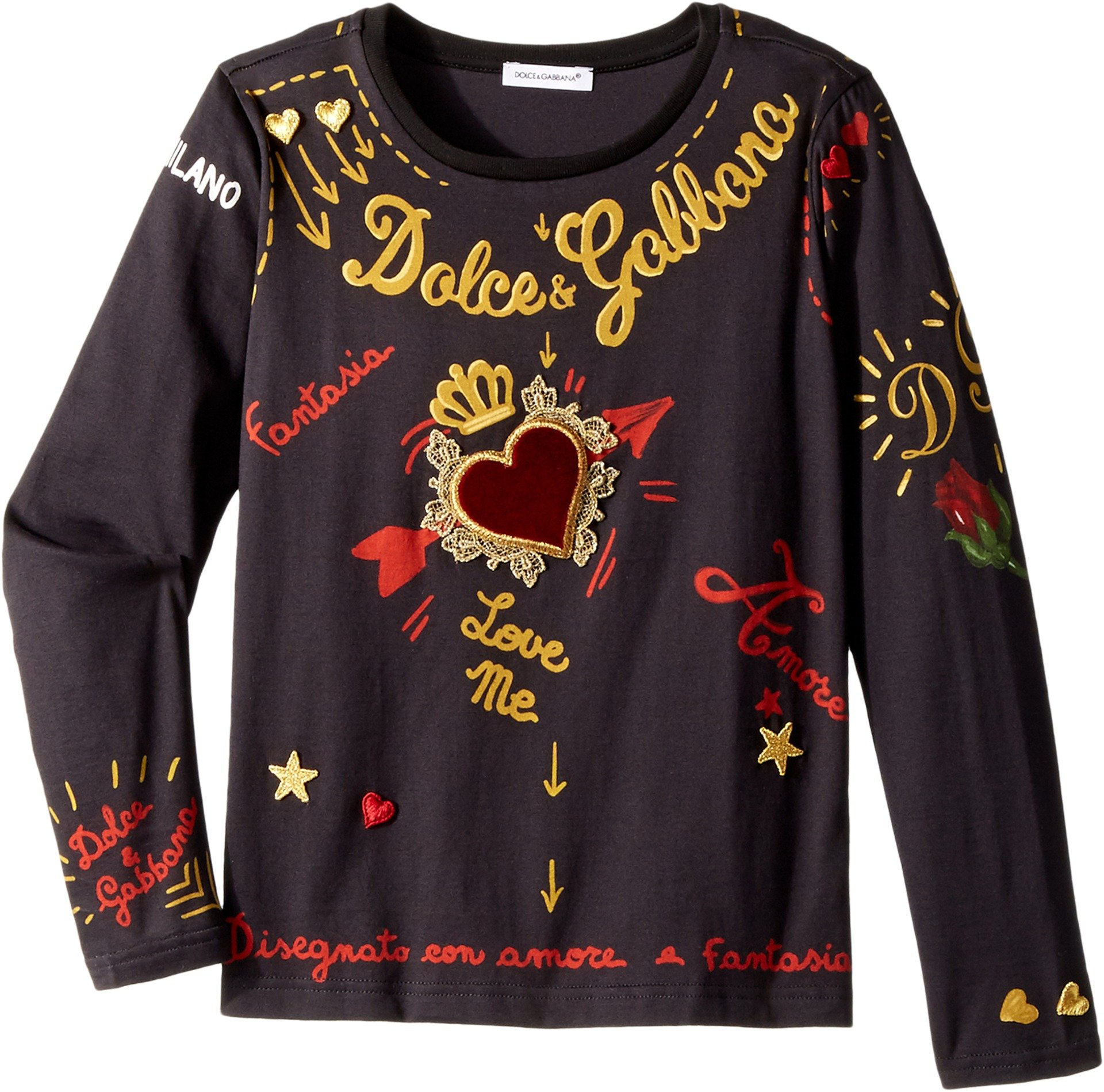 Dolce & Gabbana Kids Baby Girl's City Embroidered T-Shirt (Toddler/Little Kids) Black 4T