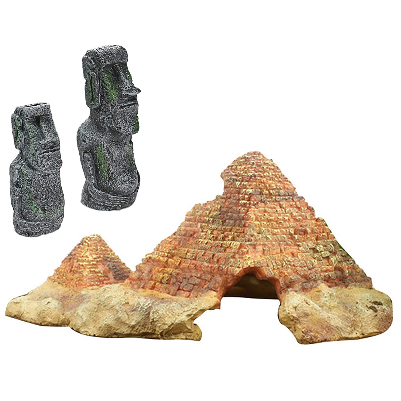 Jollymap Aquarium Decoration, Pyramid Ornament Resin Ruins Decor for Fish Tank