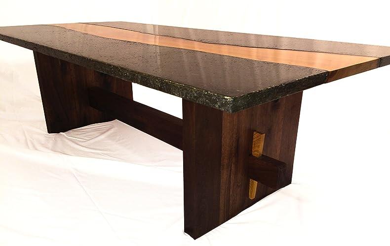 Osage orange, concrete & walnut coffee table
