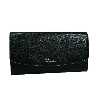 5ecc747faa707 ESPRIT Geldbörse Classic Flap Clutch Schwarz Damen Portemonnaie Leder Börse  Geldbeutel Brieftasche 117EA1V028-E001