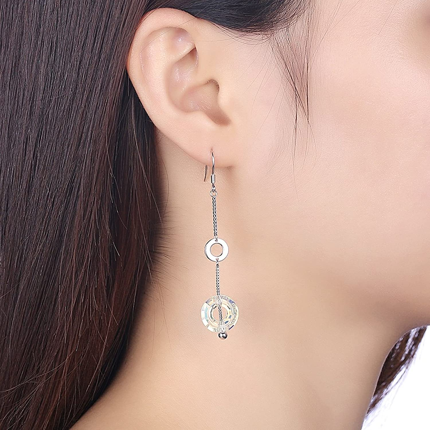 EoCot Silver Plated Clear Circle Crystal Women Girl Dangle Hook Earring