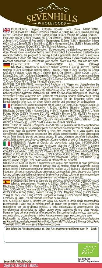 Sevenhills Wholefoods Chlorella Comprimidos Orgánico, Pared Celular Rota 250g (500 x 500mg): Amazon.es: Salud y cuidado personal