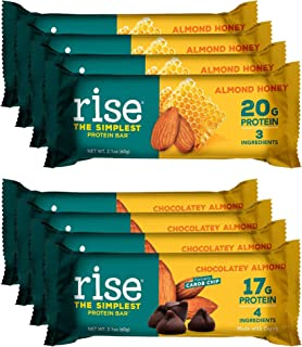 product image for Rise Non-GMO, Gluten Free, Soy Free, Real Whole Food, Whey Protein Bar, No Added Sugar, High Protein Bar with Fiber, Potassium, Vitamins & Nutrients 2.1oz (Chocolatey Almond, Almond Honey) 8 Pack