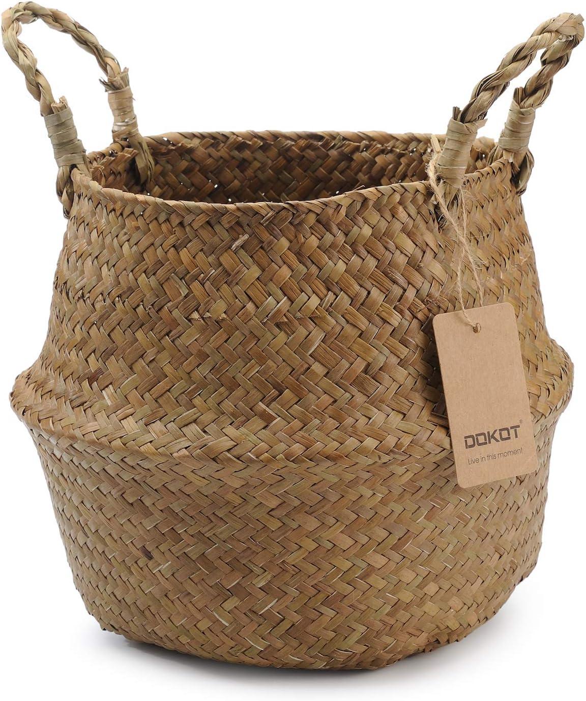Cestos para la Colada con Asa Ropa Fruta o Plantas 22 x 20 cm Natural Seagrass Mimbre Cesta de Cesteria Decoracion para el Hogar Almacenar Juguetes Cesta Plegable para el Vientre Maceta