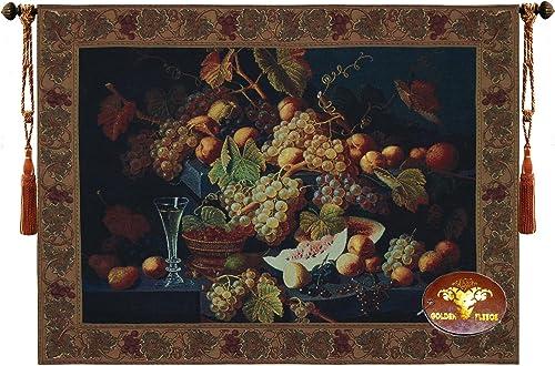 Fabric Bureau Beautiful Vine Yard Grapes Fruits Fine Tapestry Jacquard Woven Wall Hanging Art Decor