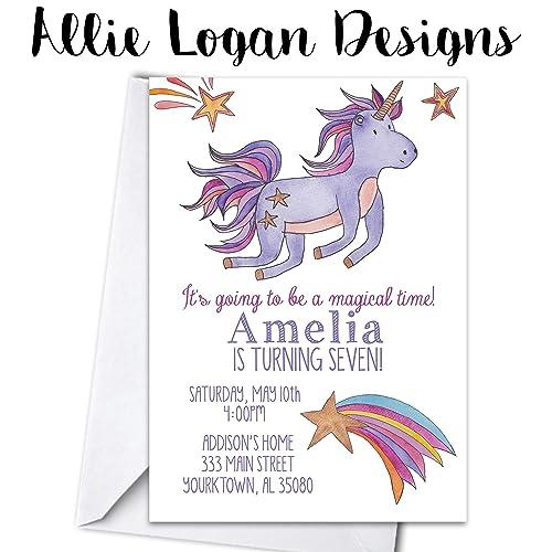 Watercolor Unicorn Birthday Party Personalized Invitations