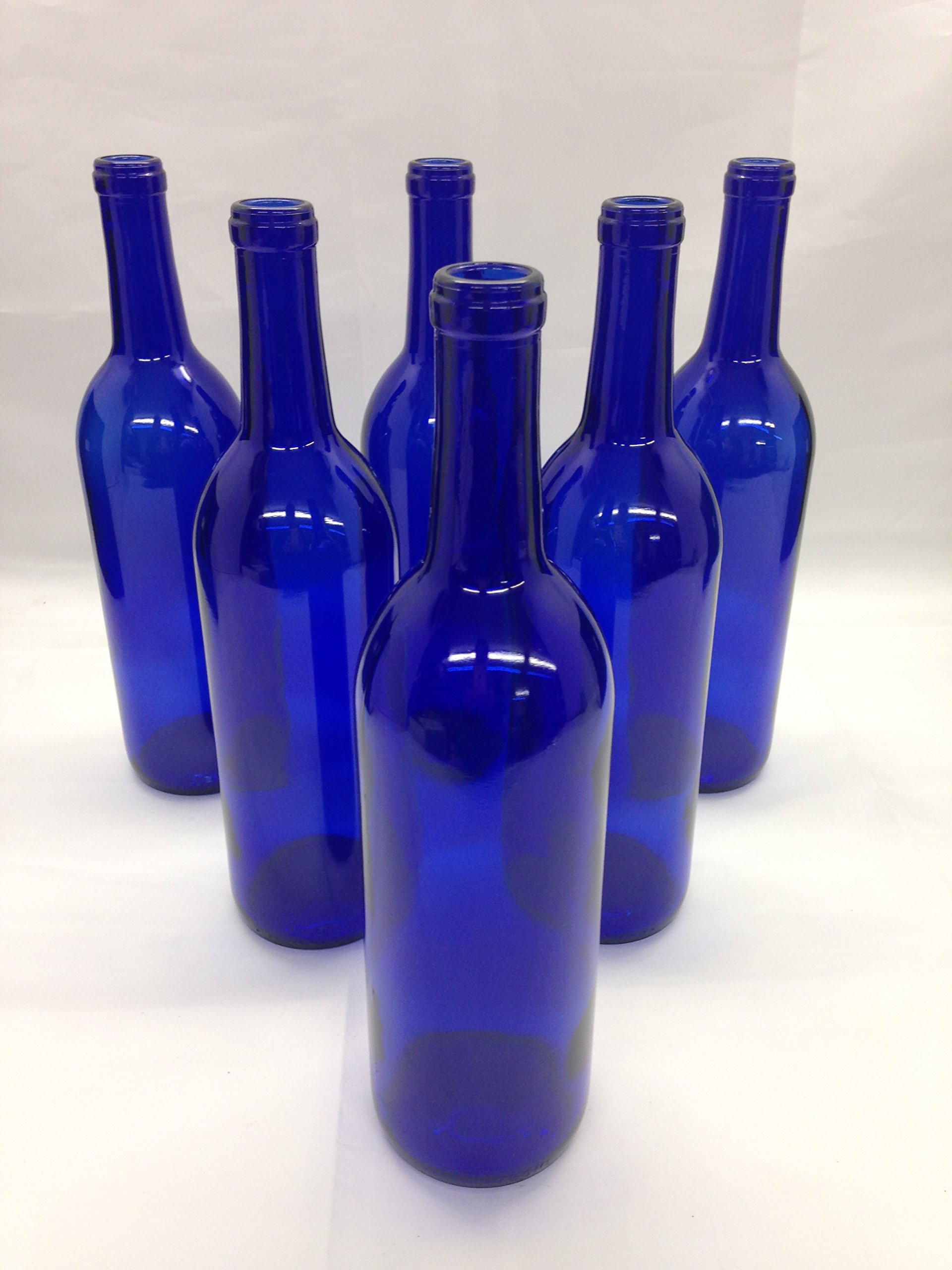 6 - Cobalt Blue Bordeaux Flat Bottom Glass Bottles 750ml for Bottle Trees, Crafting, Parties,Wedding Center Piece , Decor , Home Brew , Beer, Wine