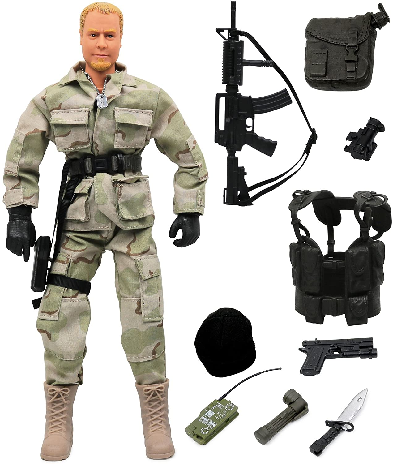 """Click N' Play Military Ranger Swat Unit Action 12"""" Figure Play Set with Accessories"""