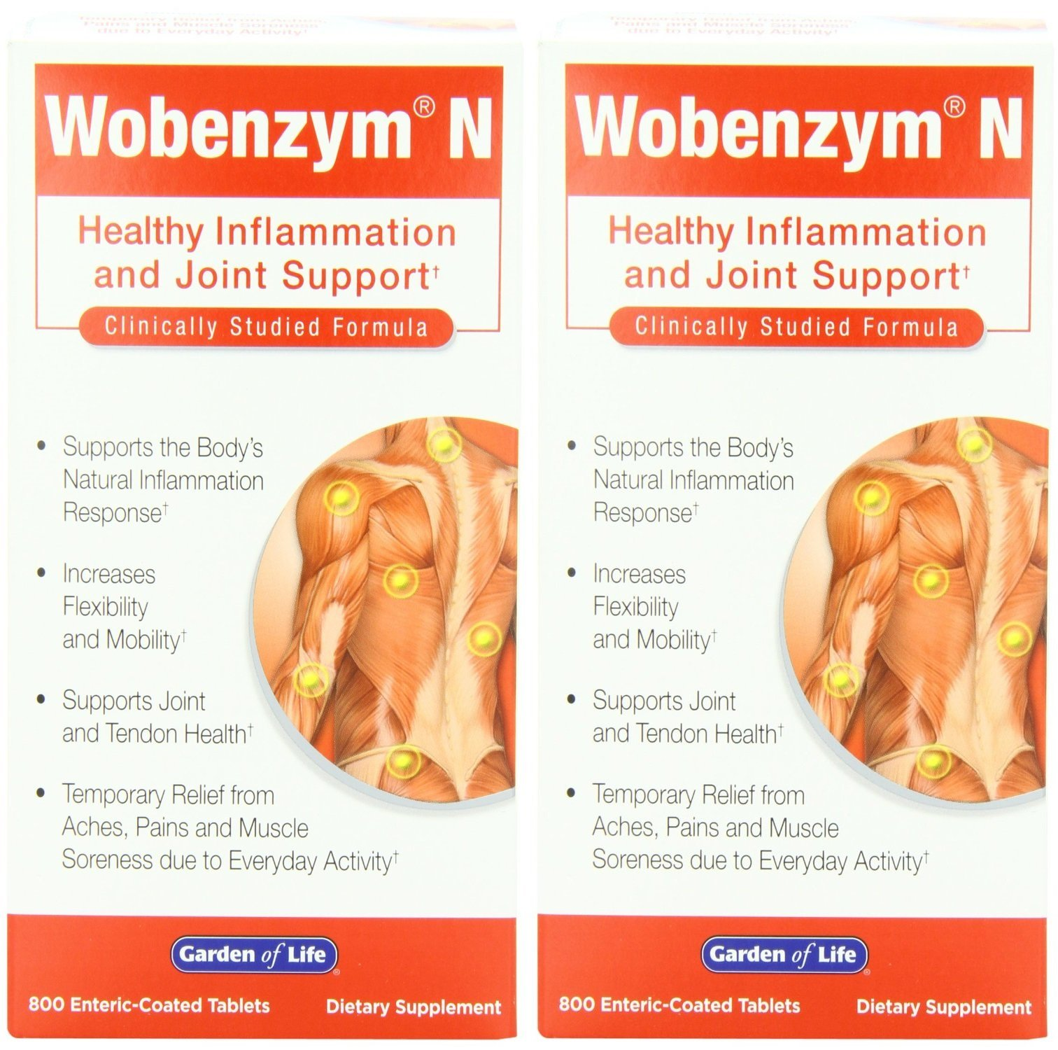 Wobenzym N Enteric Coated Tabs, 800-count Bottle (800 Tablets X 2)