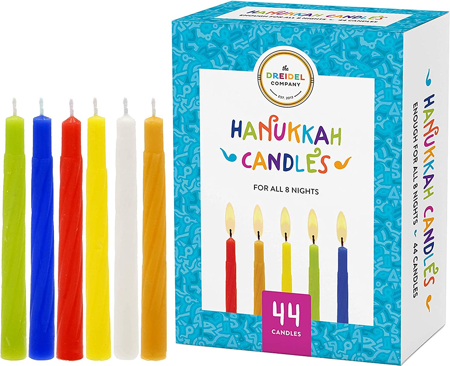 The Dreidel Company Menorah Candles Chanukah Candles 44 Colorful Hanukkah Candles for All 8 Nights of Chanukah (Single)