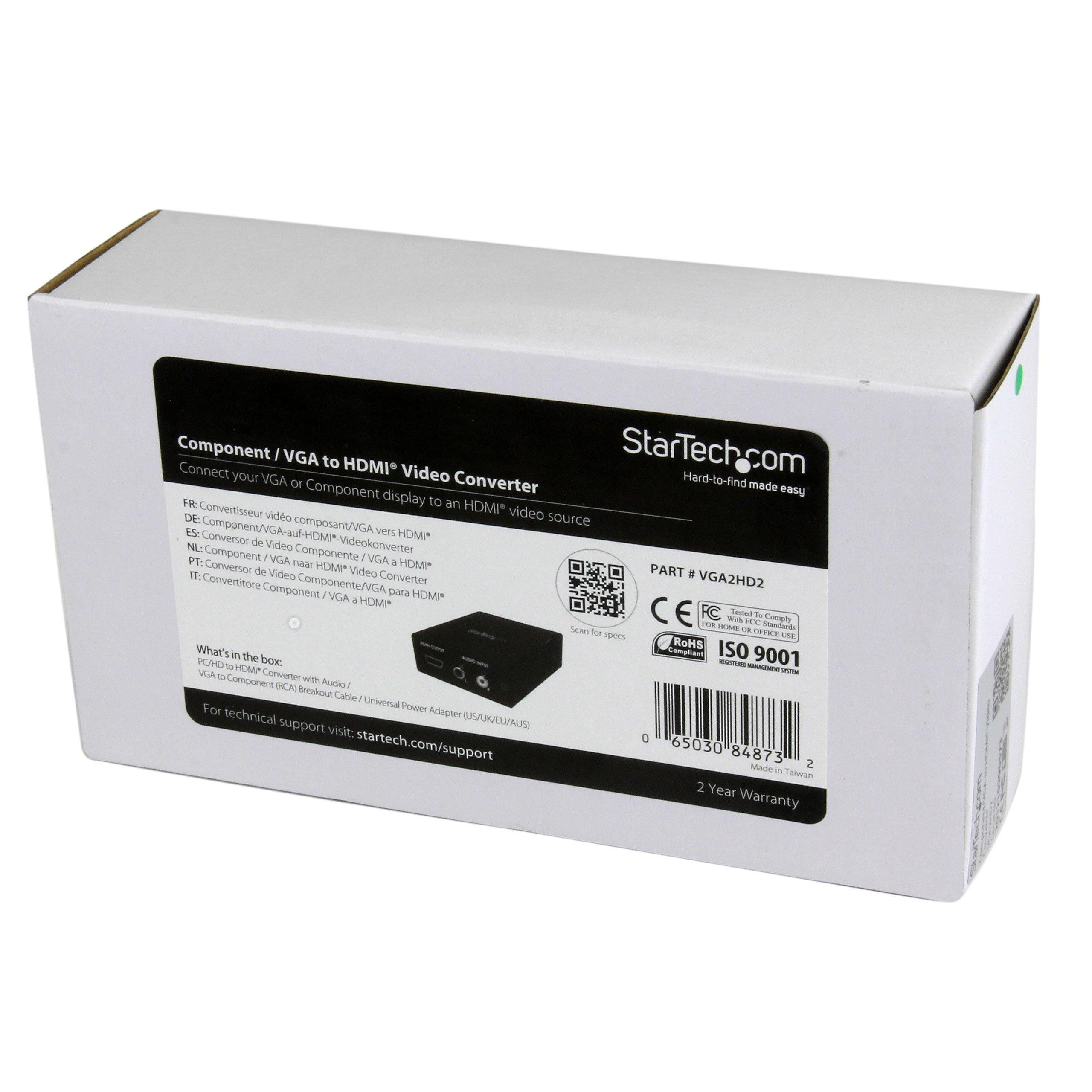 StarTech.com VGA2HD2 1920 x 1200 1080p Component/VGA to HDMI Audio Converter by StarTech