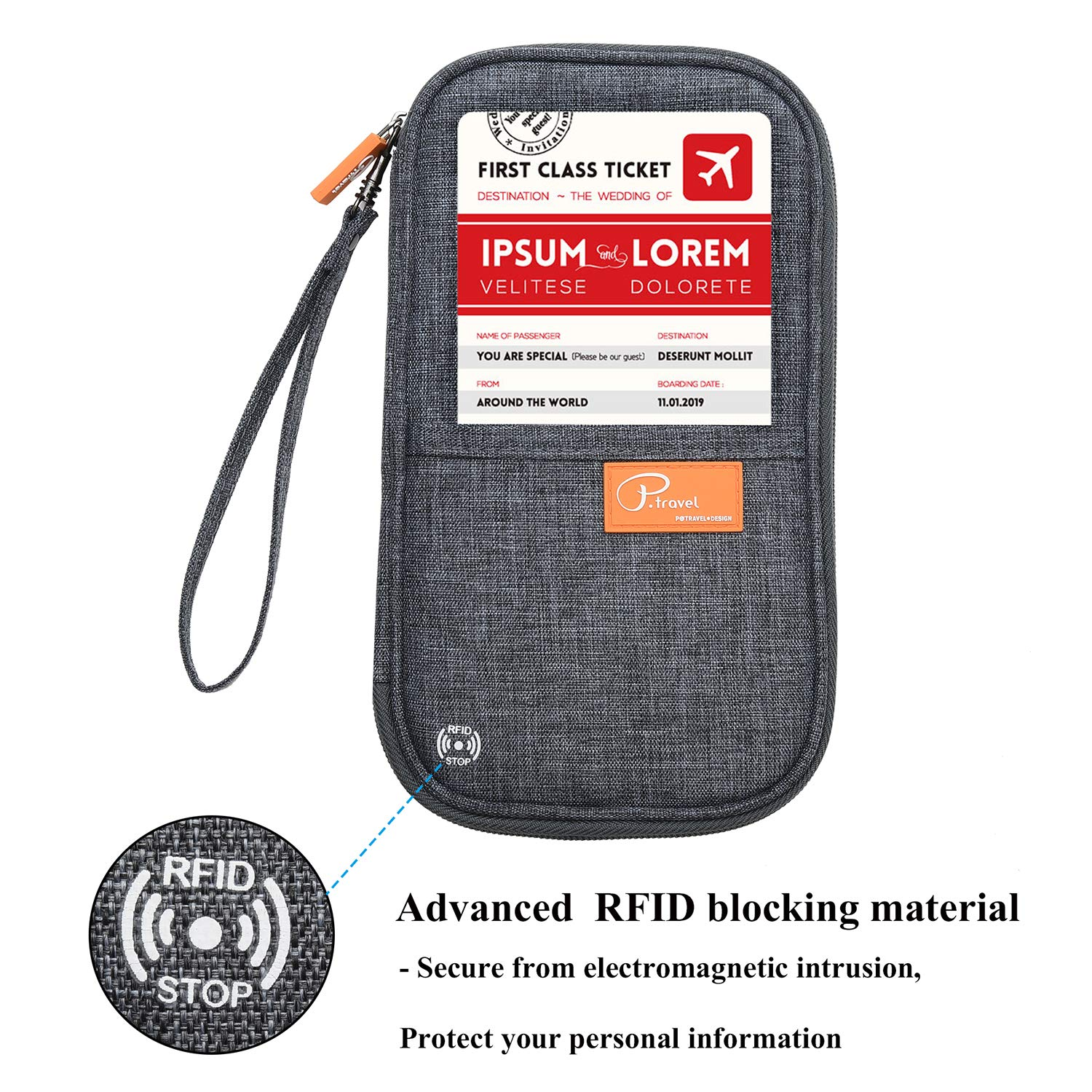 RFID Blocking Travel Passport Wallet Family Passport Holder Credit Card Ticket Document Organizer Bag with 3pcs luggage Tags (Grey) by Marcoon (Image #4)