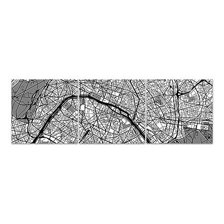 Dekoglas Glasbild Stadtplan Von Paris Echtglas Bild Kuche