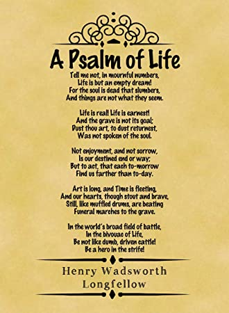 Amazon A4 Size Parchment Poster Classic Poem Henry Wadsworth Longfellow A Psalm Of Life Part One Prints Posters