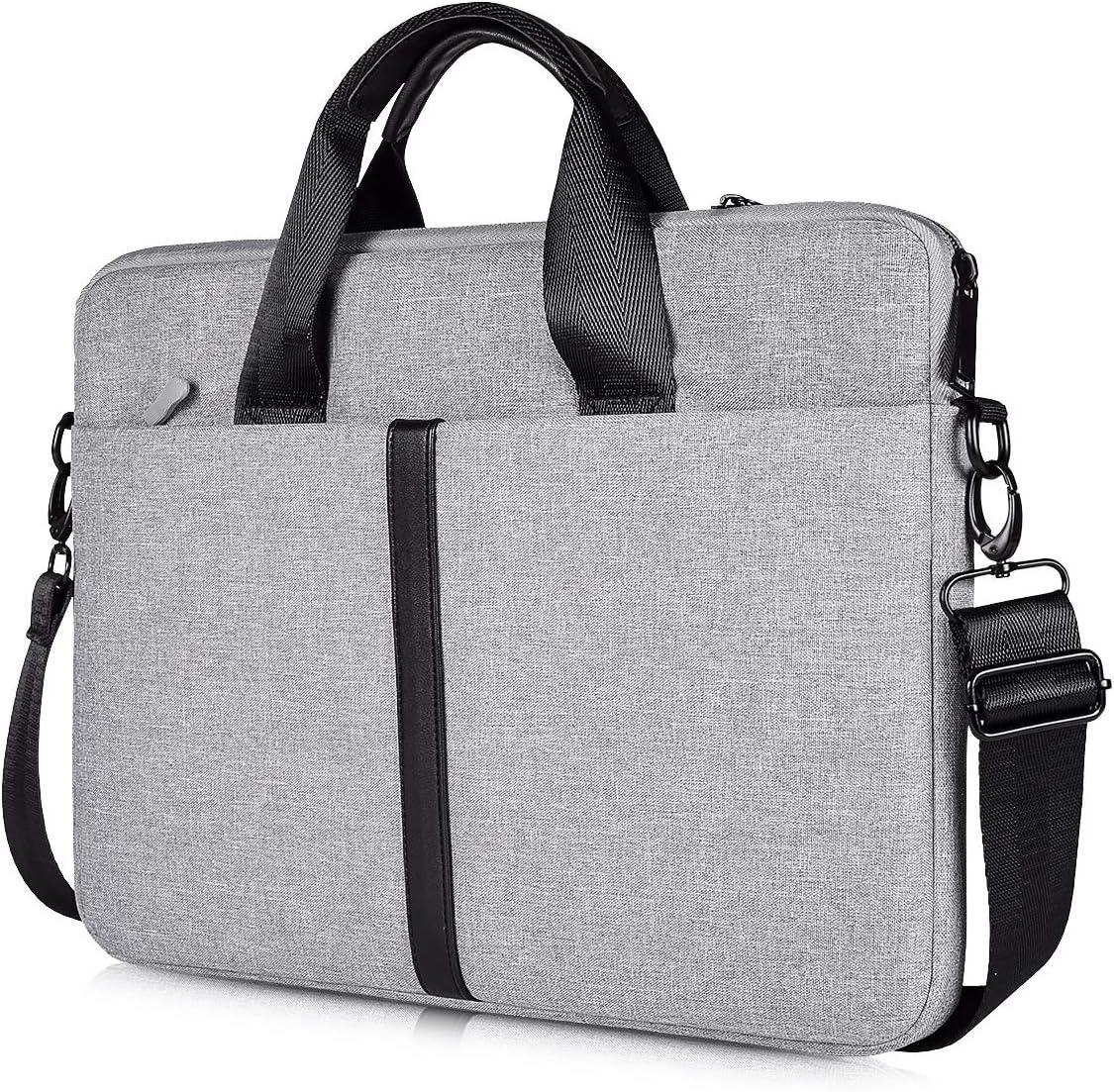 CaseBuy 15.6 Inch Premium Laptop Shoulder Bag, Waterproof Laptop Sleeve Case for HP Spectre X360 15.6/ENVY X360 15.6, Acer Aspire, ASUS VivoBook, Dell Inspiron 15, MSI GL62M, 15.6 Slim Laptop Bag,Grey