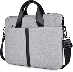 CaseBuy 15.6 Inch Premium Laptop Shoulder Bag, Waterproof Laptop Sleeve Case for HP Spectre X360 15.6/ENVY X360 15.6, Acer Aspire, ASUS VivoBook, Dell Inspiron 15, MSI GL62M, 15.6 Slim Laptop Bag,Grey