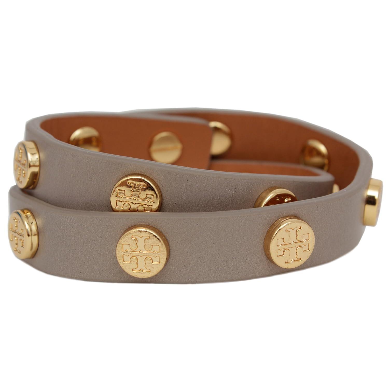 5a957476f6c5a4 Amazon.com  Tory Burch Bracelet Double Wrap Logo TB Leather Studded  Jewelry