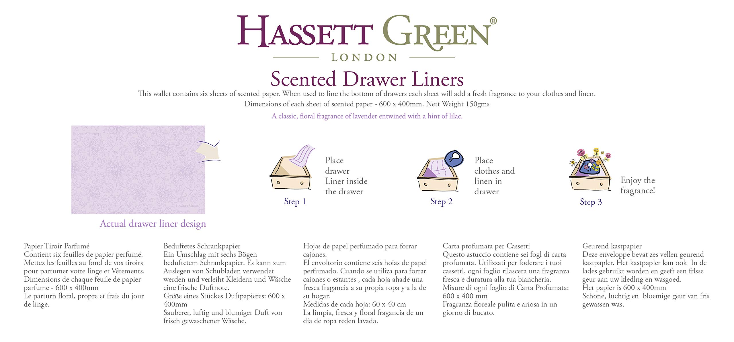 Hassett Green London Four Pack Scented Drawer Liners - Natural Cotton - Lilac & Lavender - Hearts & Roses - Sensual Sensuelle - 6 Sheets Size 600 x 400 in Every Box by Hassett Green London