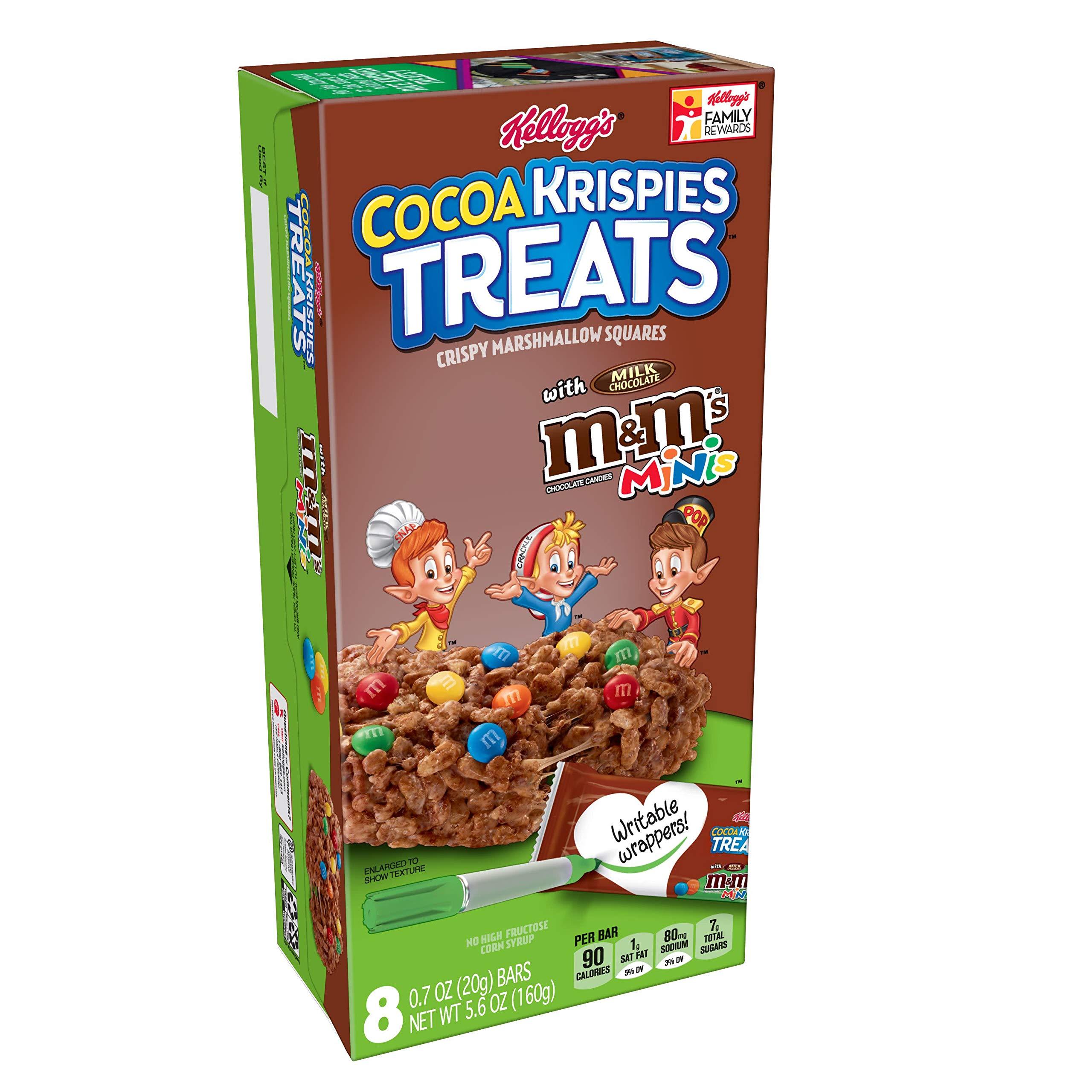 Kellogg's Cocoa Krispies Treats, Crispy Marshmallow Squares, Chocolate with M&Ms Minis, 5.6oz Box(8 Count)